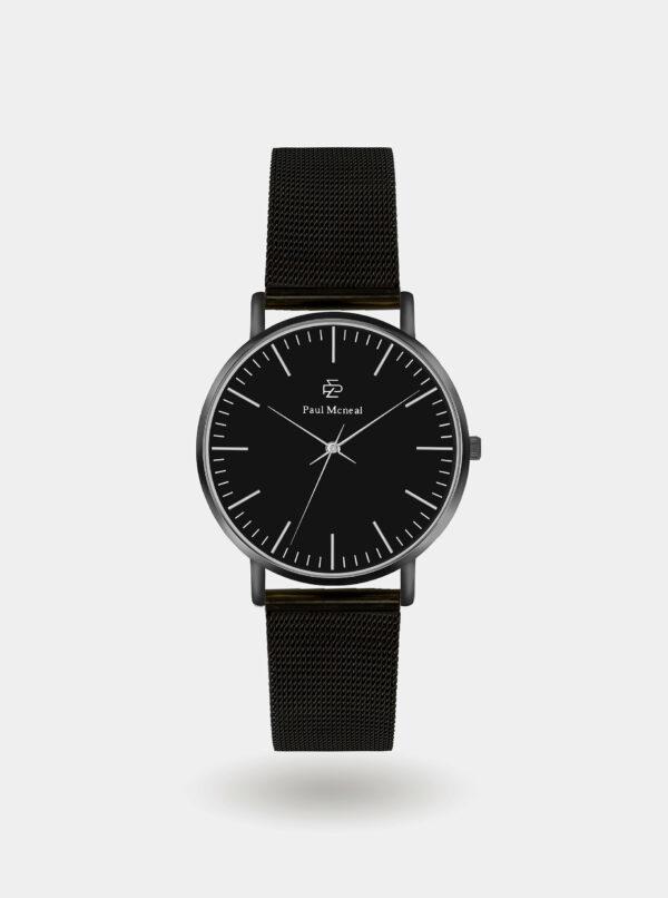 Pánske hodinky s čiernym nerezovým remienkom Paul McNeal