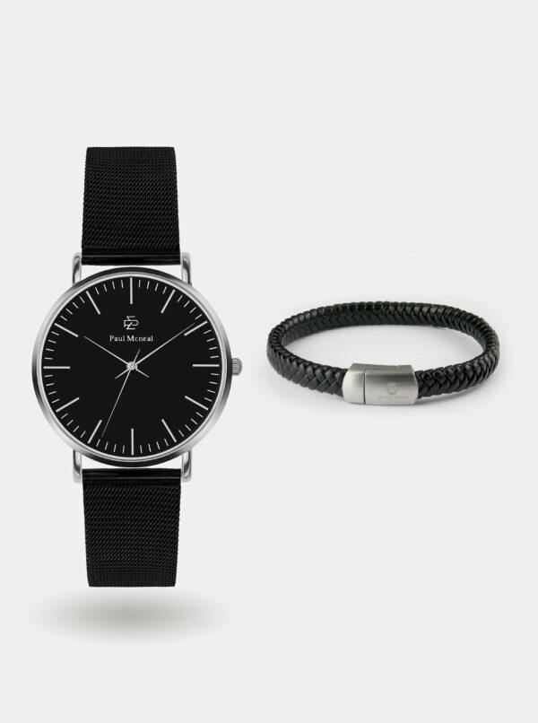Sada pánskych hodiniek s čiernym nerezovým remienkom a koženého náramku Paul McNeal