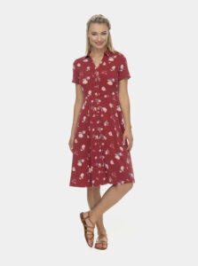 Červené kvetované košeľové midi šaty Ragwear
