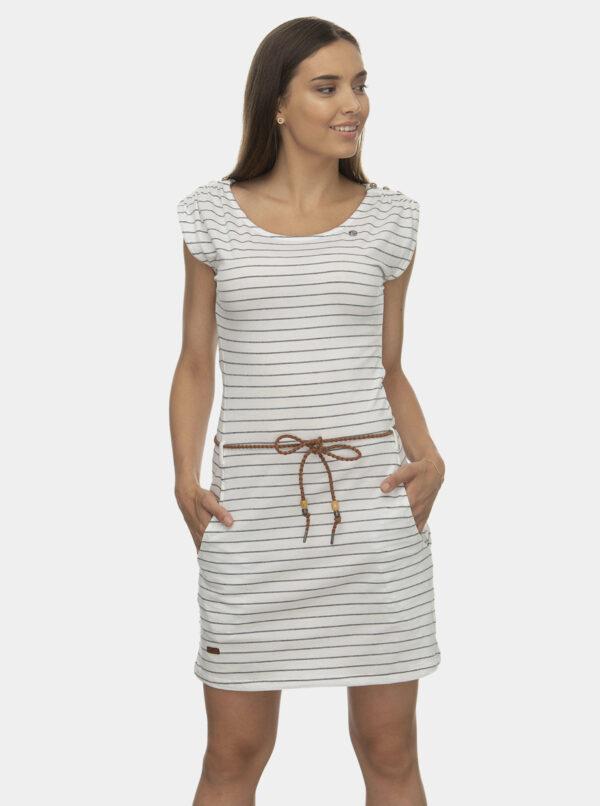 Biele pruhované šaty Ragwear