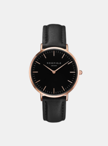 Dámske hodinky s čiernym koženým remienkom Rosefield