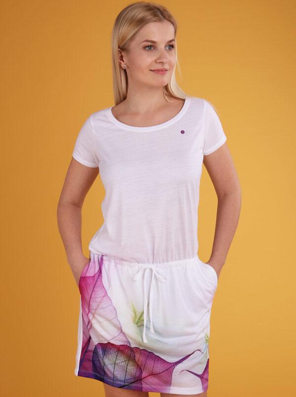 Biele dámske vzorované šaty LOAP Alysa