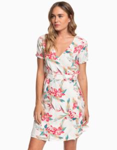 Biele kvetované zavinovacie šaty Roxy