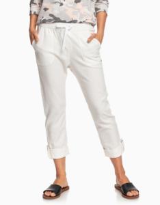 Biele skrátené ľanové nohavice Roxy