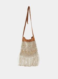Béžová kabelka so strapcami Pieces Nella