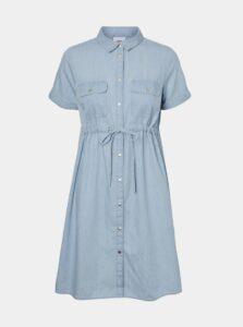 Svetlomodré tehotenské košeľové šaty Mama.licious Xandra