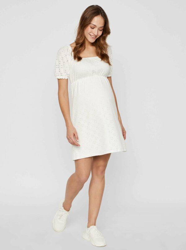 Biele tehotenské šaty s madeirou Mama.licious Molly