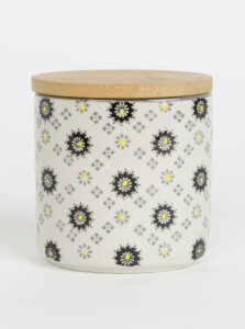 Krémová vzorovaná keramická dóza Tranquillo Greta