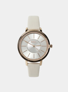 Dámske hodinky s krémovým koženým remienkom Lee Cooper
