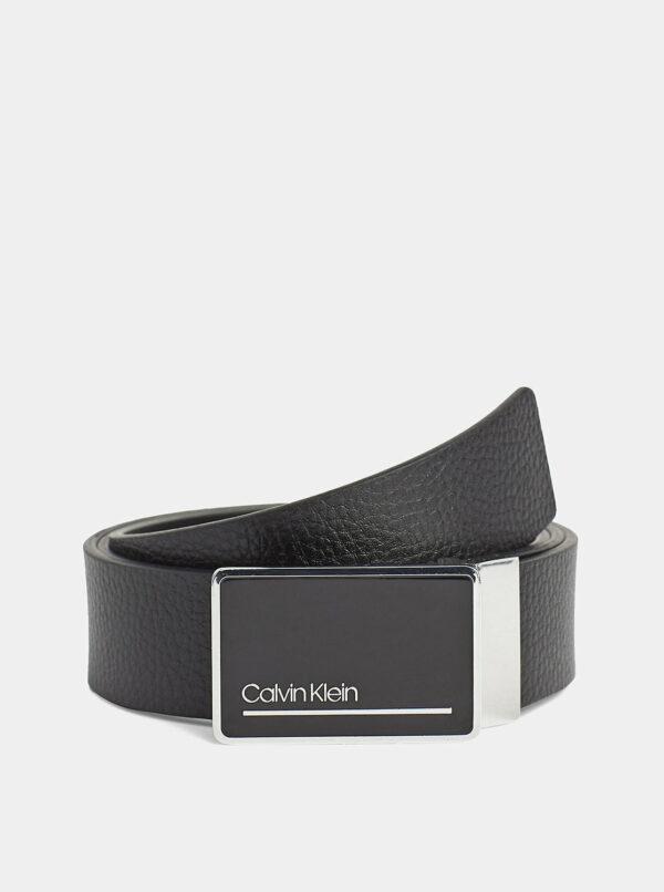 Sada dvoch pánskych kožených opaskov v čiernej a tmavomodrej farbe Calvin Klein Jeans