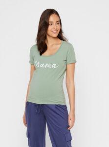Zelené tehotenské tričko s potlačou Mama.licious Lucca