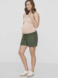Kaki tehotenské ľanové kraťasy Mama.licious