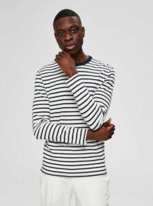 Modro-biele pruhované basic tričko Selected Homme