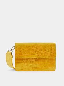 Žltá crossbody kabelka s krokodýlím vzorom Pieces Jally