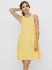 Žlté ľanové voľné šaty VERO MODA Helen