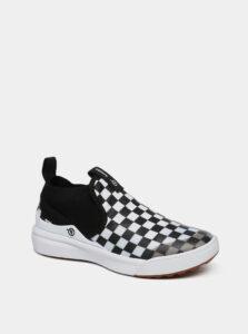 Bielo-čierne detské kockované tenisky VANS