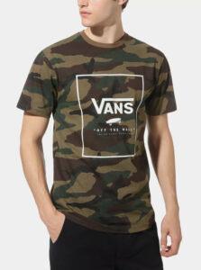 Kaki pánske maskáčové tričko VANS