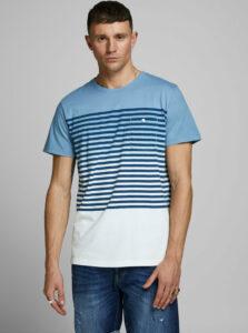 Modré pruhované tričko Jack & Jones Grade