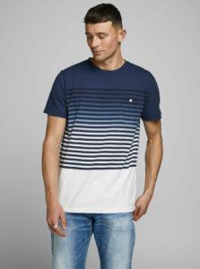 Tmavomodré pruhované tričko Jack & Jones Grade
