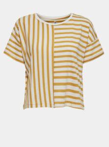 Krémovo-žlté pruhované voľné tričko ONLY Marie