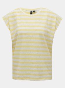 Bielo-žlté pruhované basic tričko VERO MODA Osra