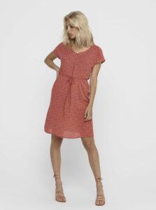 Tehlové bodkované šaty Jacqueline de Yong Caro