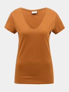 Hnedé basic tričko Jacqueline de Yong Chicago
