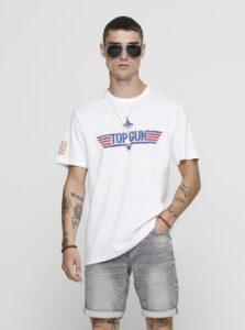Biele tričko ONLY & SONS Topgun