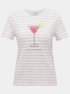Bielo-ružové tričko ONLY Kita