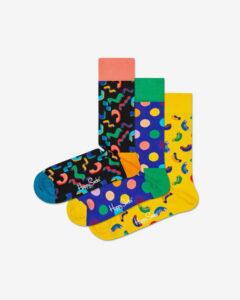 Happy Socks Happy Birthday Ponožky 3 páry Čierna Modrá Žltá