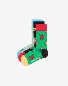 Happy Socks Keith Haring Ponožky 3 páry Čierna Modrá Zelená