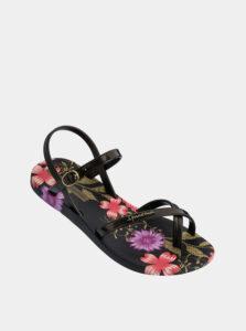 Čierne dámske kvetované sandále Ipanema