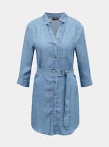 Modré rifľové košeľové šaty TALLY WEiJL
