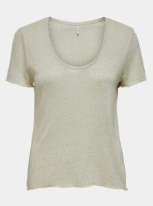 Béžové ľanové tričko ONLY Mirinda
