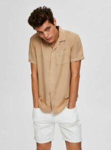 Béžová košeľa s prímesou ľanu Selected Homme