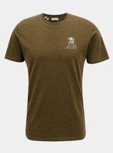 Kaki tričko s potlačou na chrbte Selected Homme Paradise