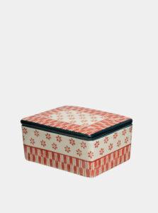 Krémovo-červená vzorovaná dóza na maslo Tranquillo Marie