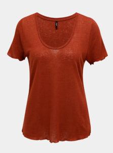 Hnedé ľanové tričko ONLY Mirinda