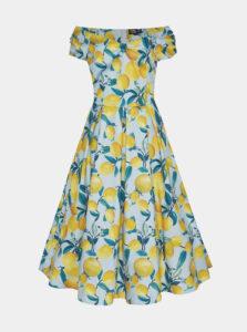 Žlto-modré vzorované midišaty Dolly & Dotty