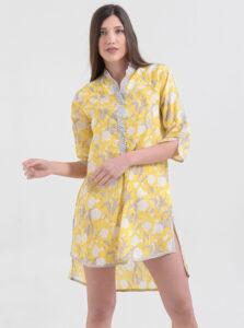 Žltá kvetovaná dlhá košeľa Ble