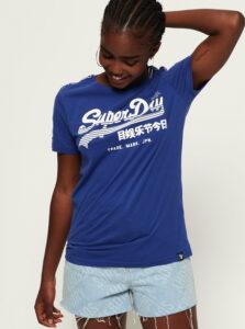 Modré dámske tričko s potlačou Superdry