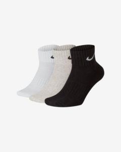 Nike Cush Ponožky 3 páry Čierna Biela Béžová