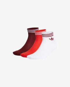 adidas Originals Trefoil Ankle Ponožky 3 páry Červená Biela