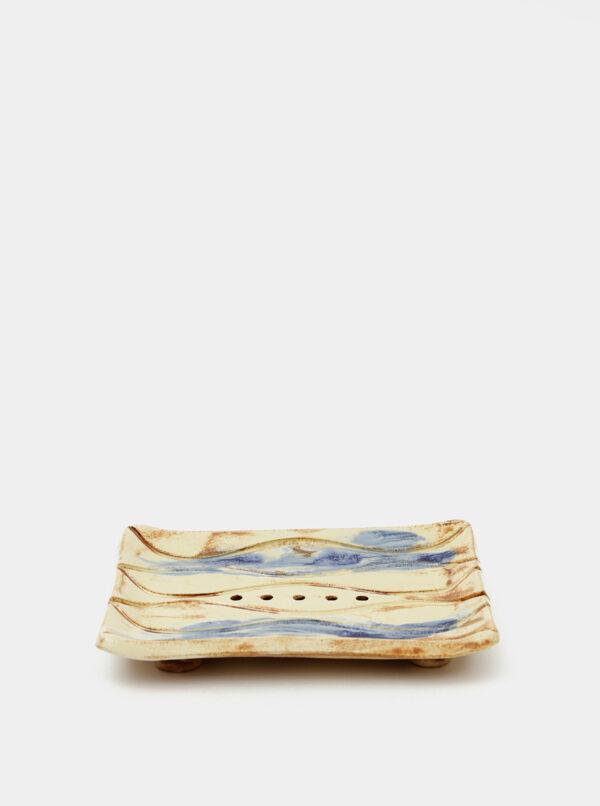 Modro-krémová keramická miska na mydlo Almara Soap Navy