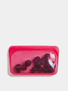 Ružový silikónový sáčok na potraviny Stasher Snack 293 ml