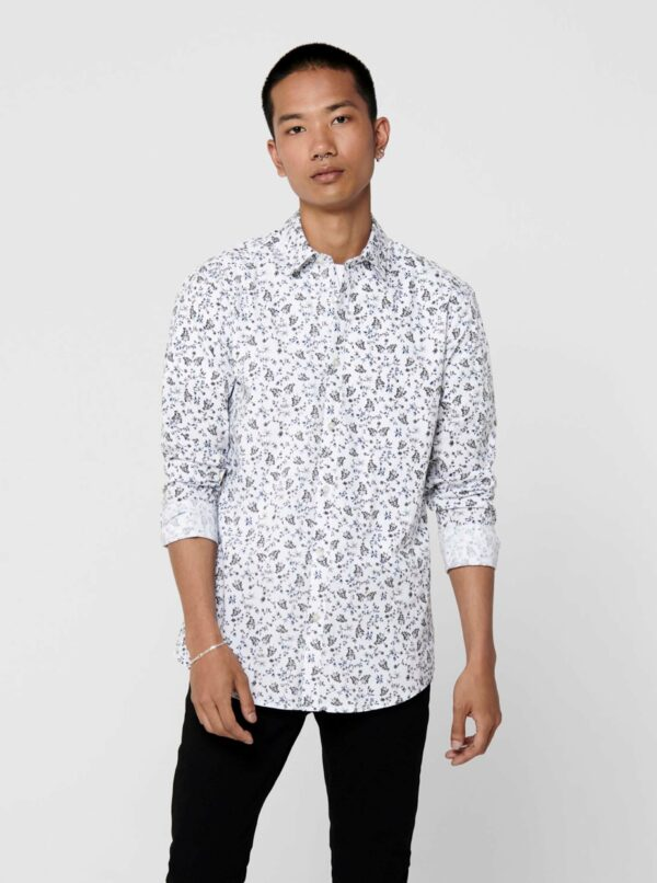 Biela vzorovaná košeľa ONLY & SONS Sander