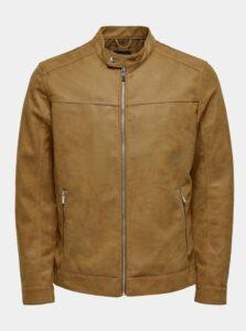 Hnedá koženková bunda ONLY & SONS Jasper