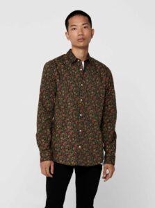 Hnedá vzorovaná košeľa ONLY & SONS Sander