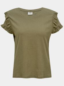 Kaki tričko s volánmi Jacqueline de Yong Fappa