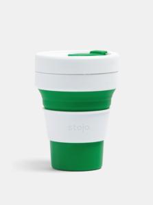 Bielo-zelený cestovný skladací hrnček Stojo Pocket 355 ml